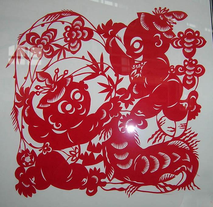 折叠蝴蝶剪纸图案画法-鱼剪纸图案及画法